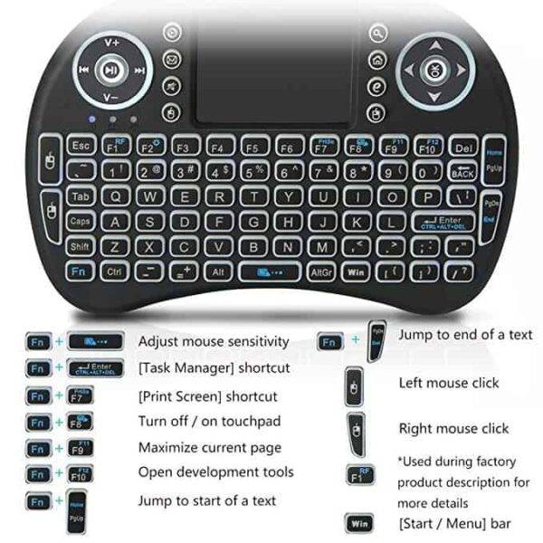 Mini wireless keyboard for Android smart TV 3 600x600 - H96 Max Smart TV BOX With i8 Mini Wireless Keyboard