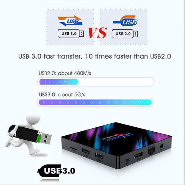H96 Max Android 9.0 Smart TV BOX 4GB RAM 32GB/64GB ROM RK3318 Quad-Core 64bit Cortex-A53 5